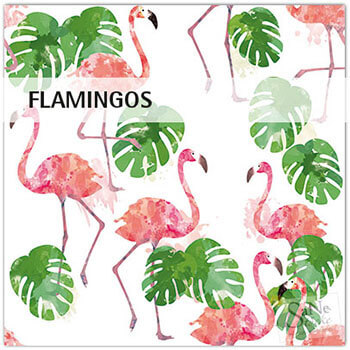 Stoffmuster Flamingos