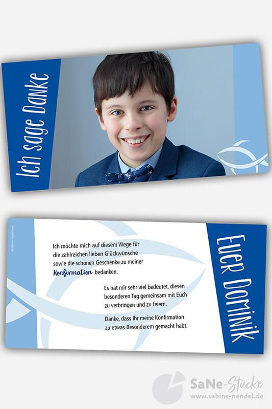 Dankeskarte-Konfirmation-Fisch-blau-Foto