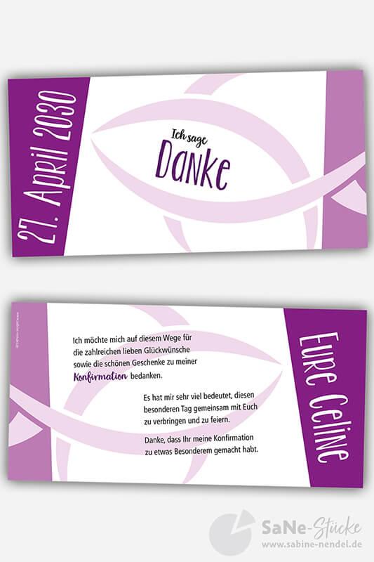 Dankeskarte-Konfirmation-Fisch-lila