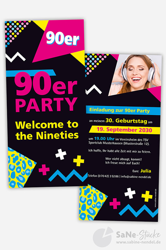 Einladung 90er Party Foto