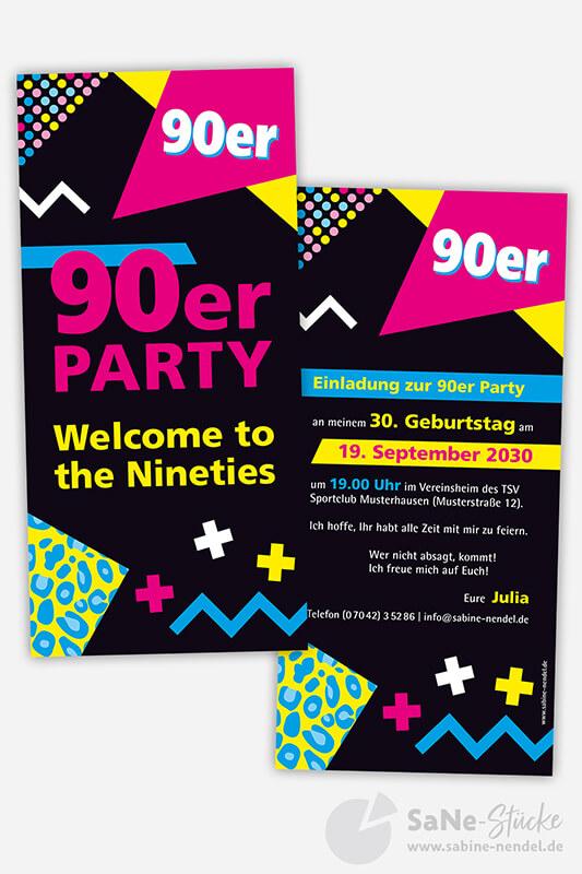 Einladung 90er Party