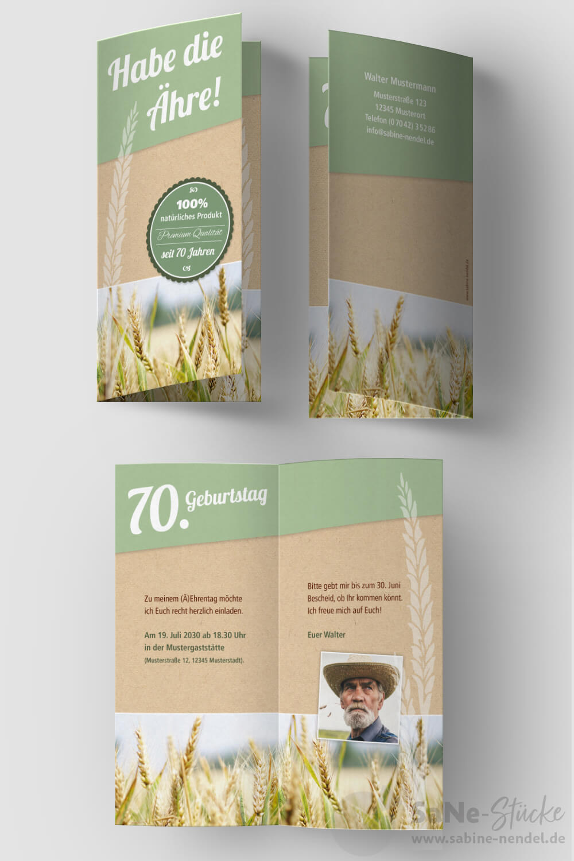 Einladung-40-Geburtstag-Landwirt-Klappkarte-Aehre