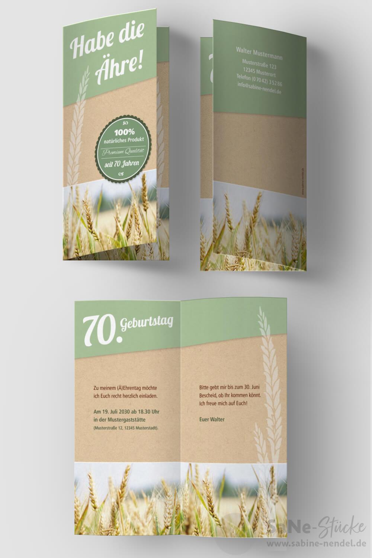 Einladung-vierzigster-Geburtstag-Landwirt-Klappkarte-Aehre