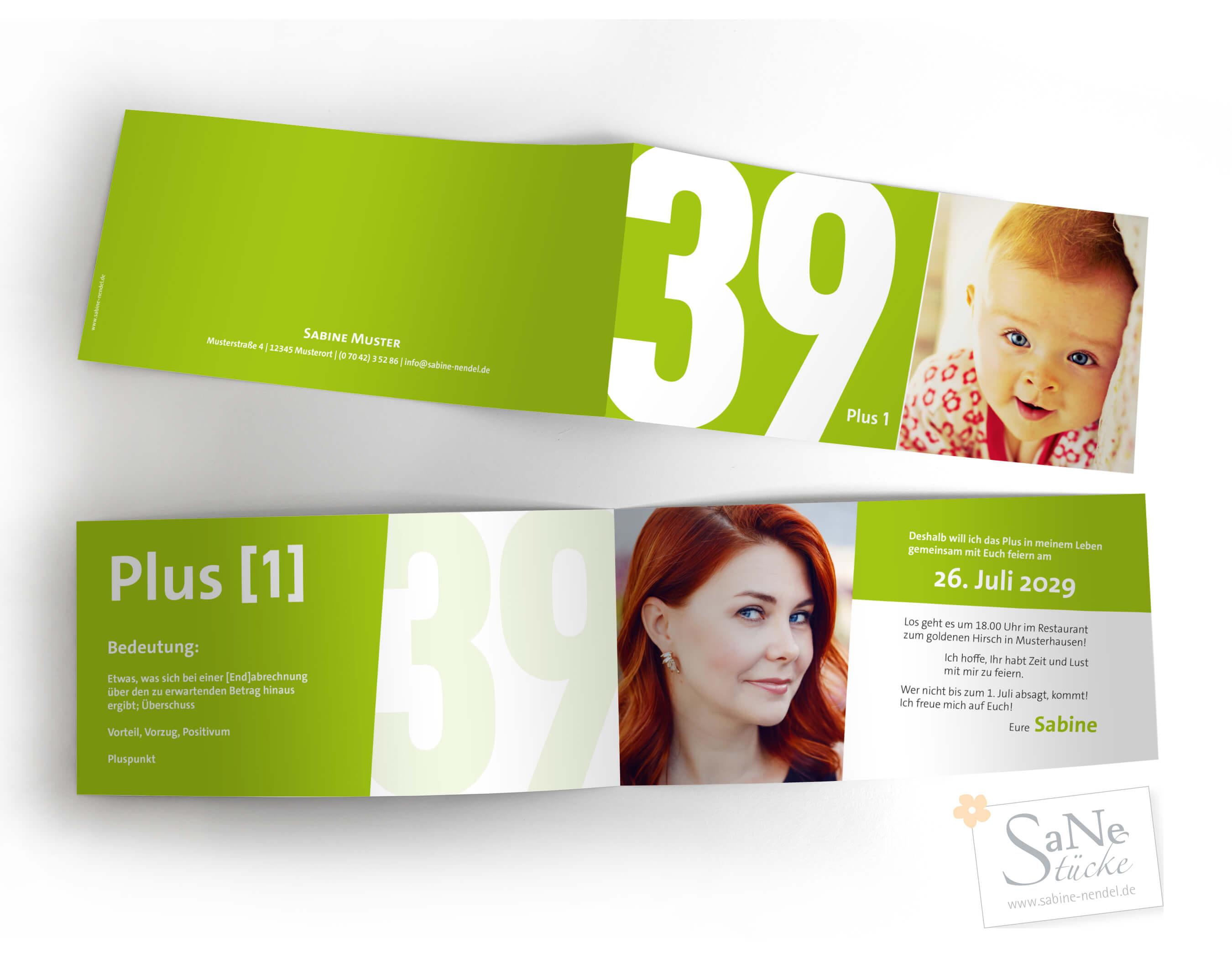 Einladungskarte zum 40. Geburtstag in Grün