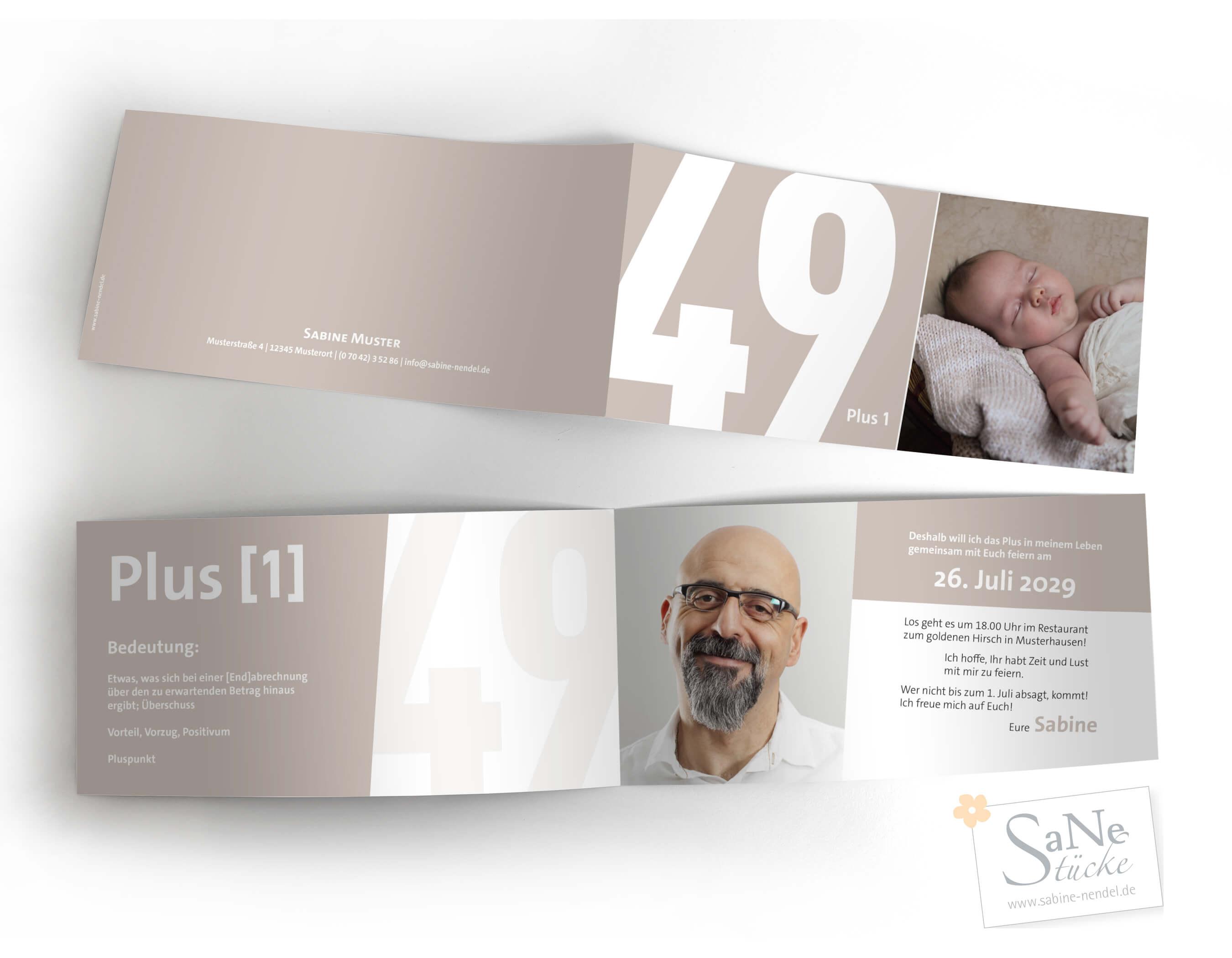 Einladung zum 50. Geburtstag in Taupe