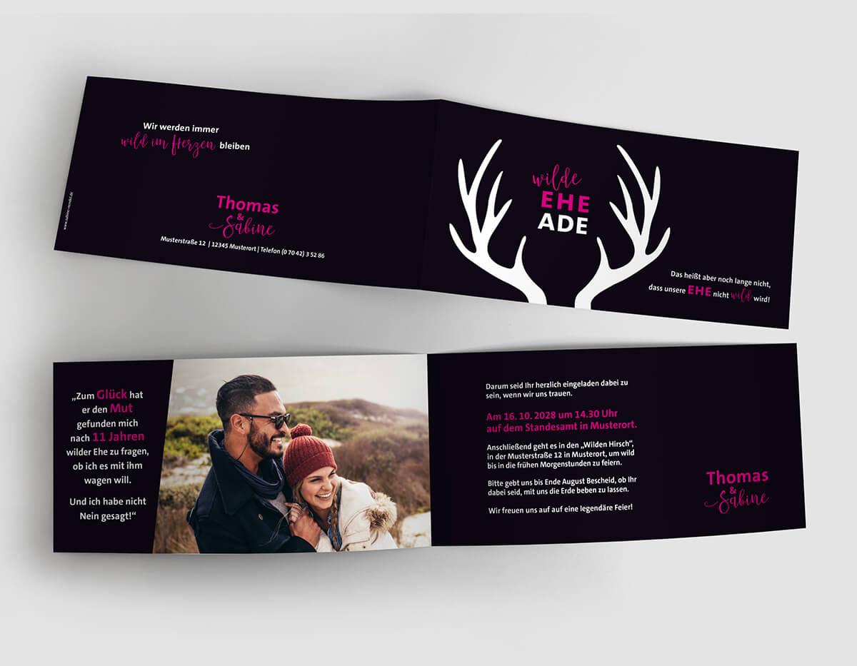 Einladungskarte Hochzeit wilde Ehe Ade aufgeklappt