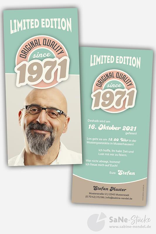 Einladungskarten-50-Geburtstag-Retro-1971-blau-Foto