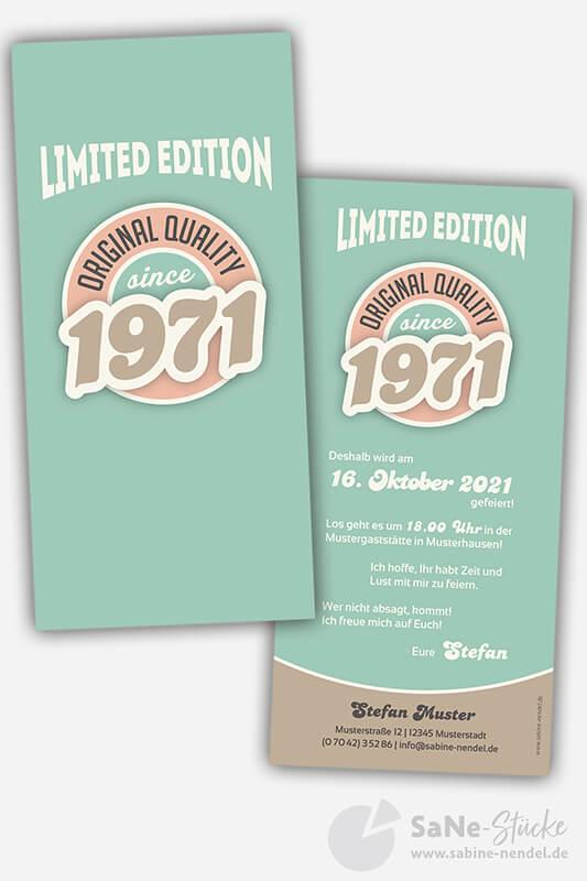 Einladungskarten-50-Geburtstag-Retro-1971-blau
