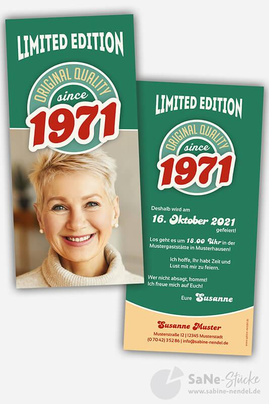 Einladungskarten-50-Geburtstag-Retro-1971-gruen-Foto