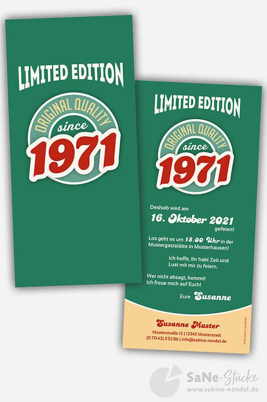 Einladungskarten-50-Geburtstag-Retro-1971-gruen
