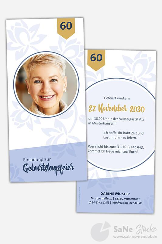 Einladungskarten-60-Geburtstag-Blumen-Blau