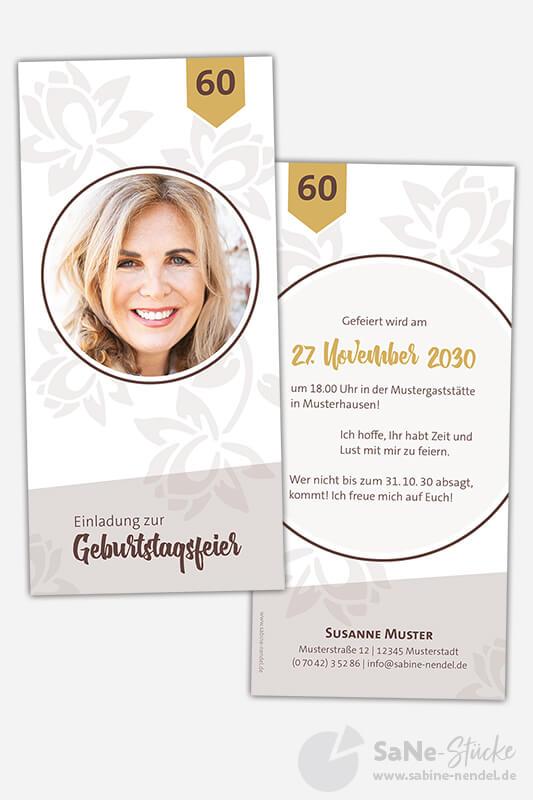 Einladungskarten-60-Geburtstag-Blumen-Braun