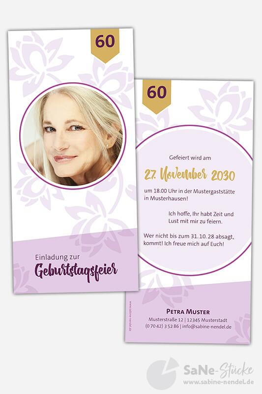 Einladungskarten-60-Geburtstag-Blumen-Lila
