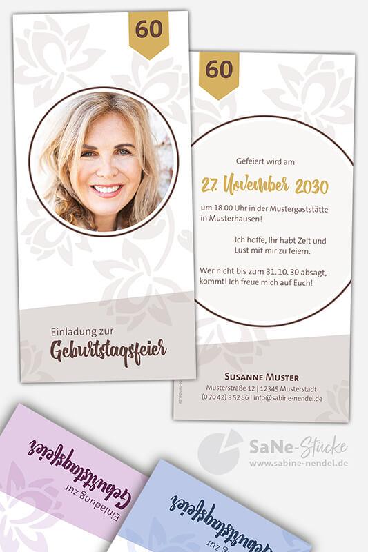 Einladungskarten-60-Geburtstag-Blumen