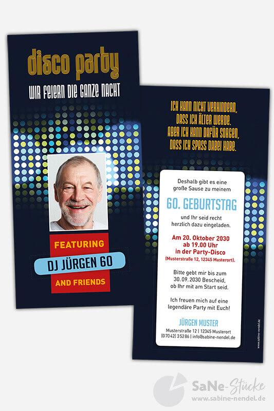Einladungen-60-Geburtstag-Disco-Party-Blau-Foto