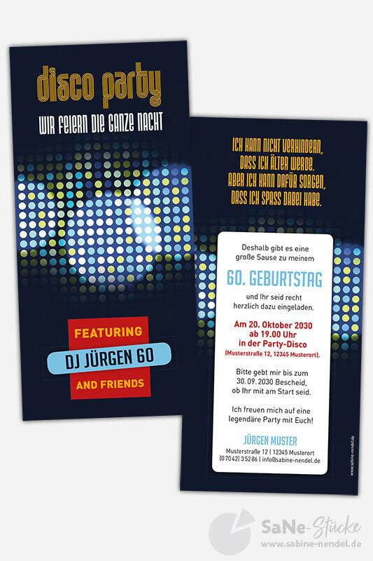Einladungskarten-60-Geburtstag-Disco-Party-Blau