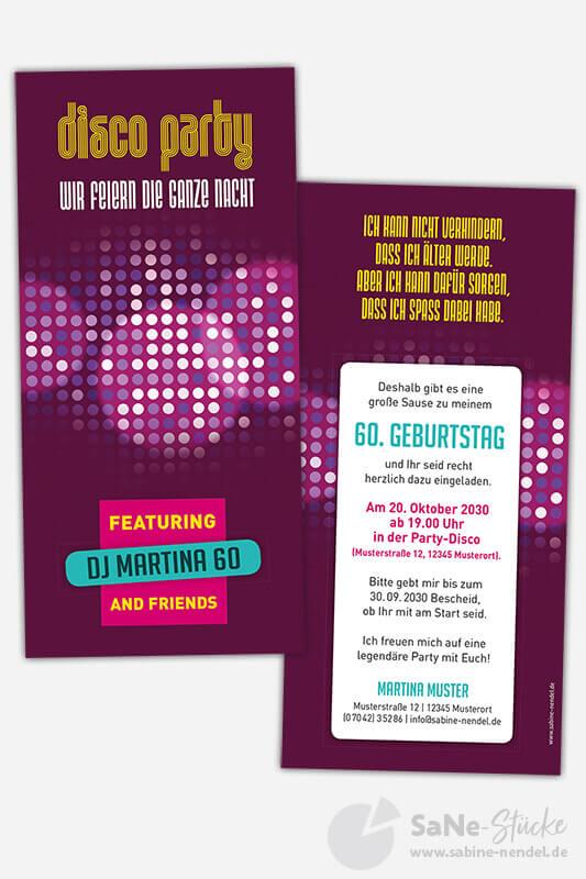 Einladung-60-Geburtstag-Disco-Party-Lila