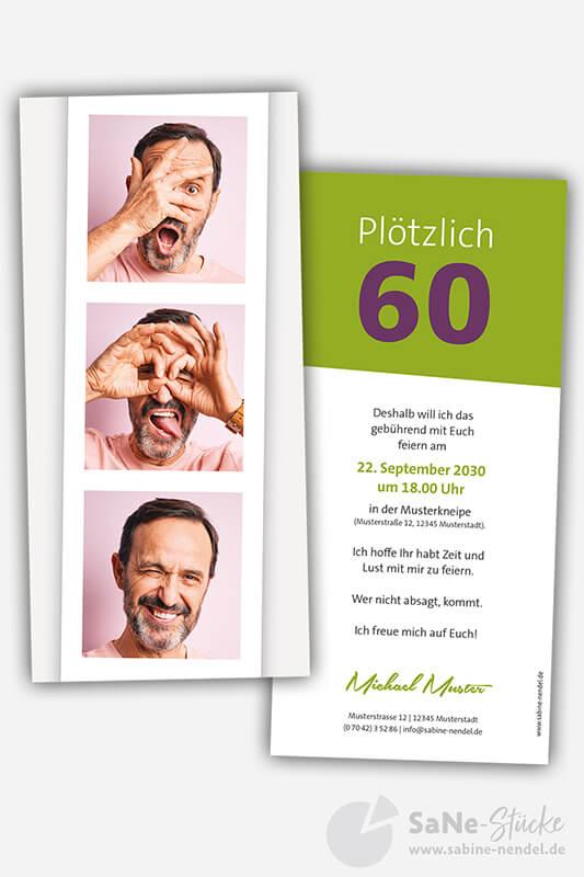 Einladungskarten-60-Geburtstag-Foto-gruen