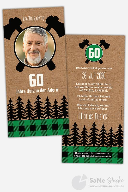 Einladungskarten-60-Geburtstag-Holzfaeller-gruen-Foto