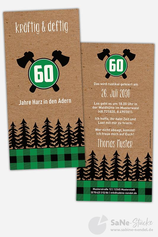 Einladungskarten-60-Geburtstag-Holzfaeller-gruen