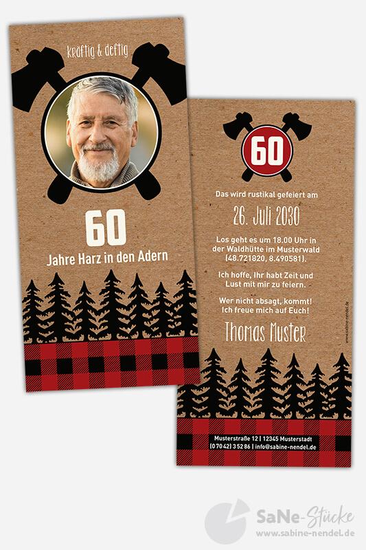 Einladungskarten-60-Geburtstag-Holzfaeller-rot-Foto