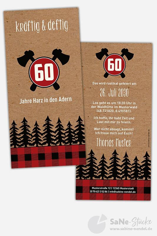 Einladungskarten-60-Geburtstag-Holzfaeller-rot