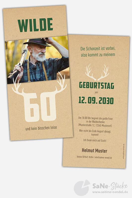 Einladungskarten-60-Geburtstag-Jaeger-gruen-Foto