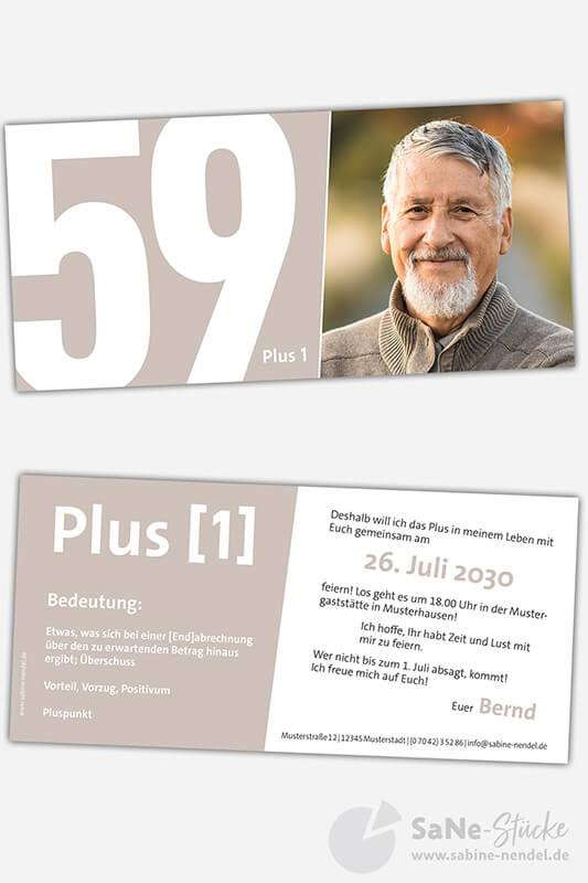 Einladungskarten-60-Geburtstag-Plus-hellbraun