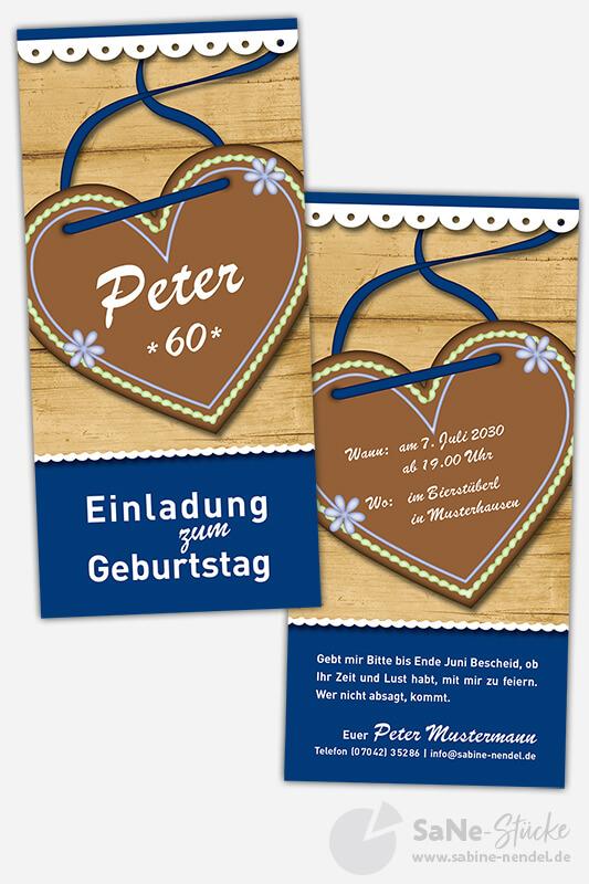 Einladungskarten-sechzig-Geburtstag-Tracht-blau