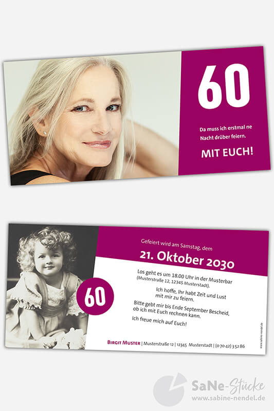 Einladungskarten-60-runder-Geburtstag-aubergine