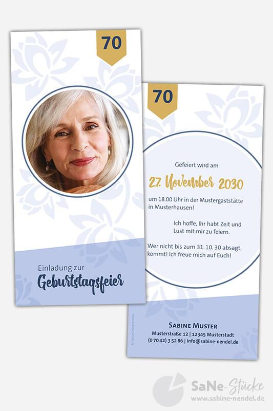 Geburtstagseinladung-70-Geburtstag-Blumen