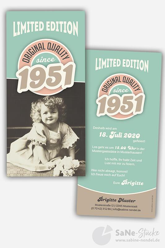 Einladungskarten-70-Geburtstag-Retro-1951-blau-Foto