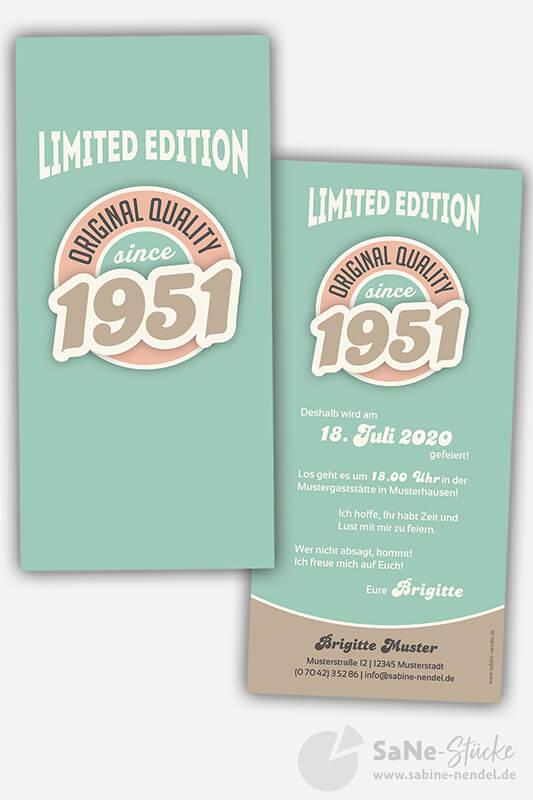 Einladungskarten-70-Geburtstag-Retro-1951-blau