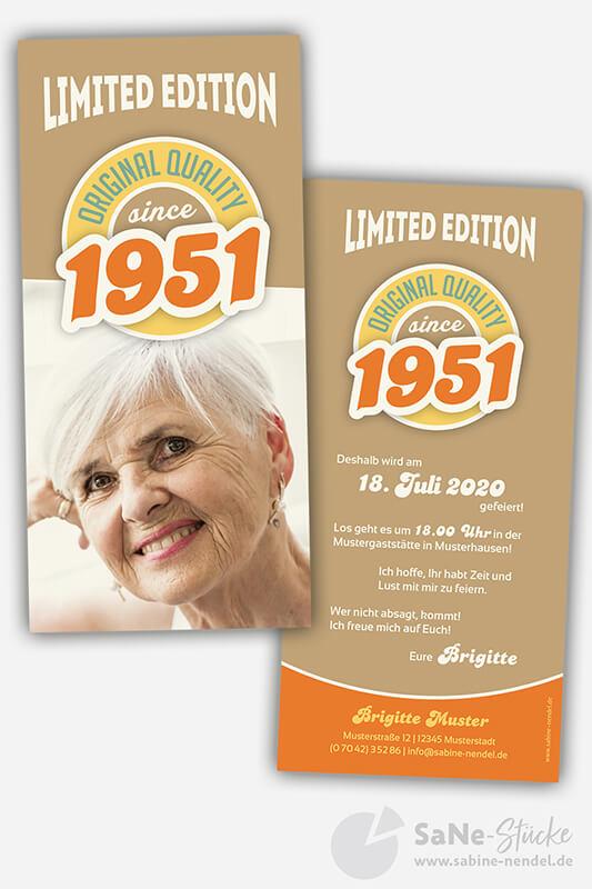 Einladungskarten-70-Geburtstag-Retro-1951-braun-Foto