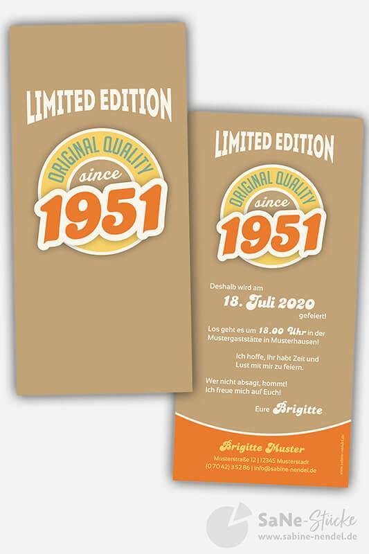 Einladungskarten-70-Geburtstag-Retro-1951-braun