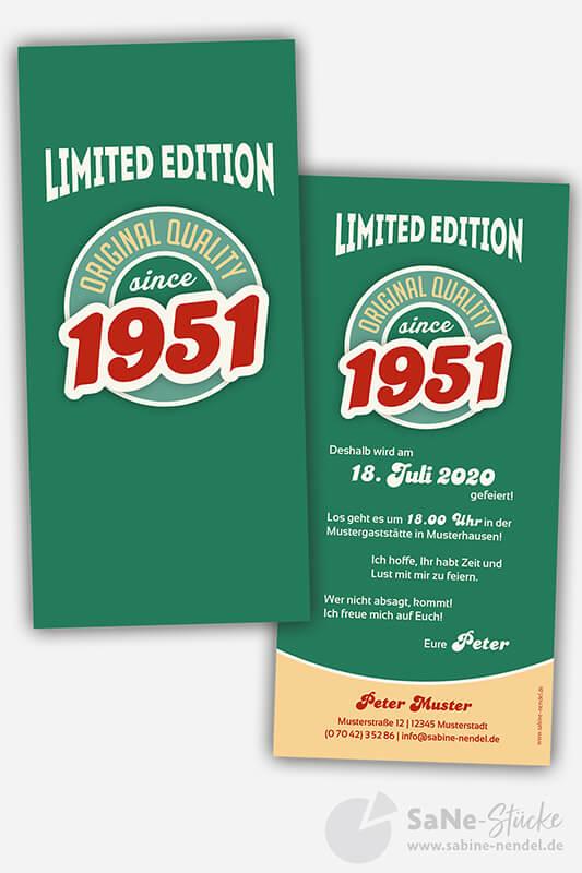 Einladungskarten-70-Geburtstag-Retro-1951-gruen
