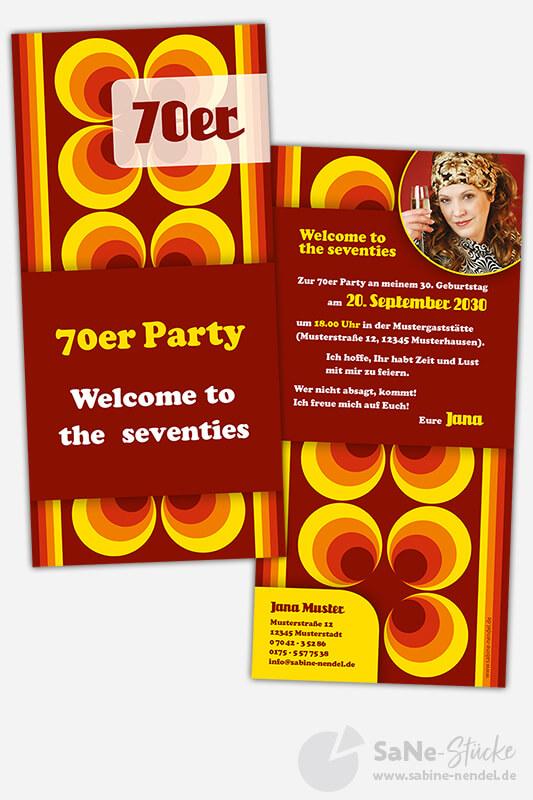 Einladungskarten 70er Party Foto
