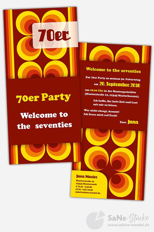 Einladungskarten 70er Party
