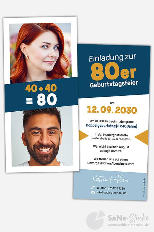 Einladungskarten-Doppelgeburtstag-zweimal-40-Blau