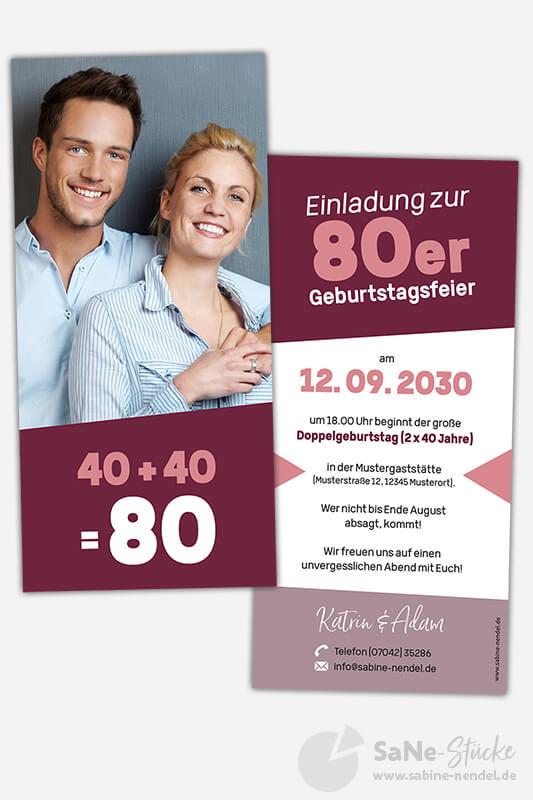 Einladungskarten-Doppelgeburtstag-40-Paar-Rot