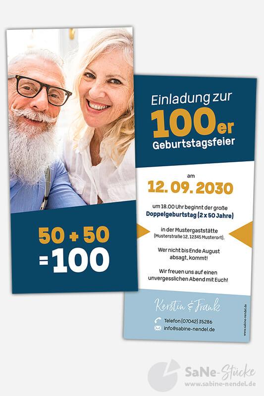 Einladungskarten-Doppelgeburtstag-50-Paar-Blau