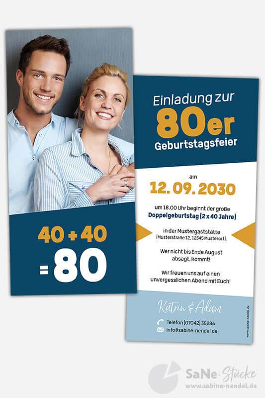 Einladungskarten Doppelgeburtstag Blau