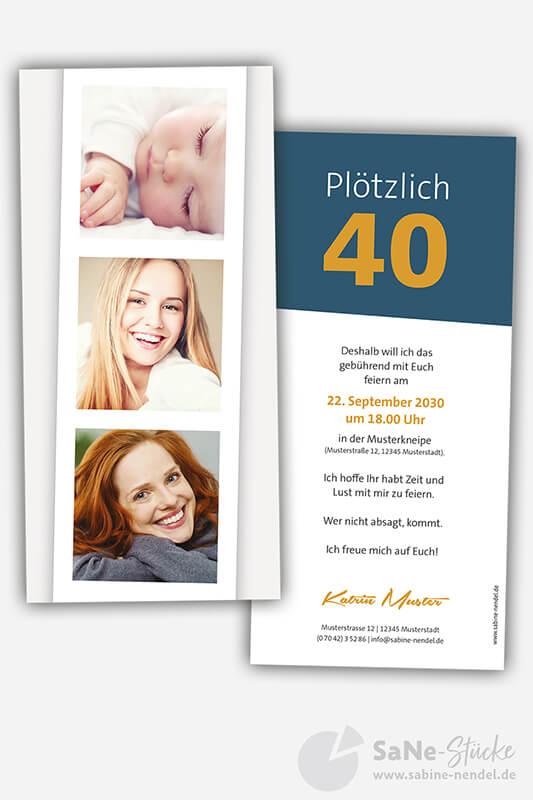 Einladungskarten-40-Geburtstag-Fotostreifen-blau