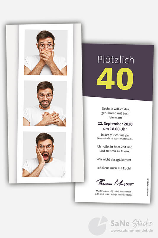 Einladungskarten-40-Geburtstag-Fotostreifen-darkberry
