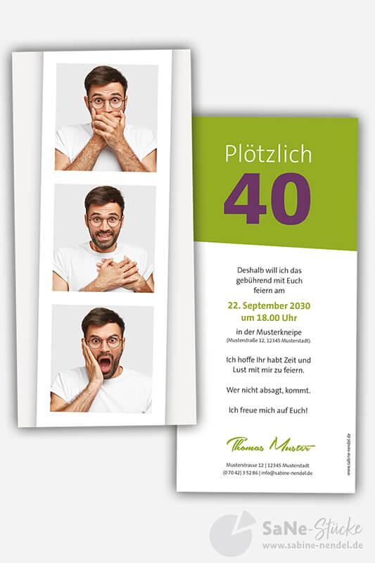 Einladungskarten-40-Geburtstag-Fotostreifen-gruen