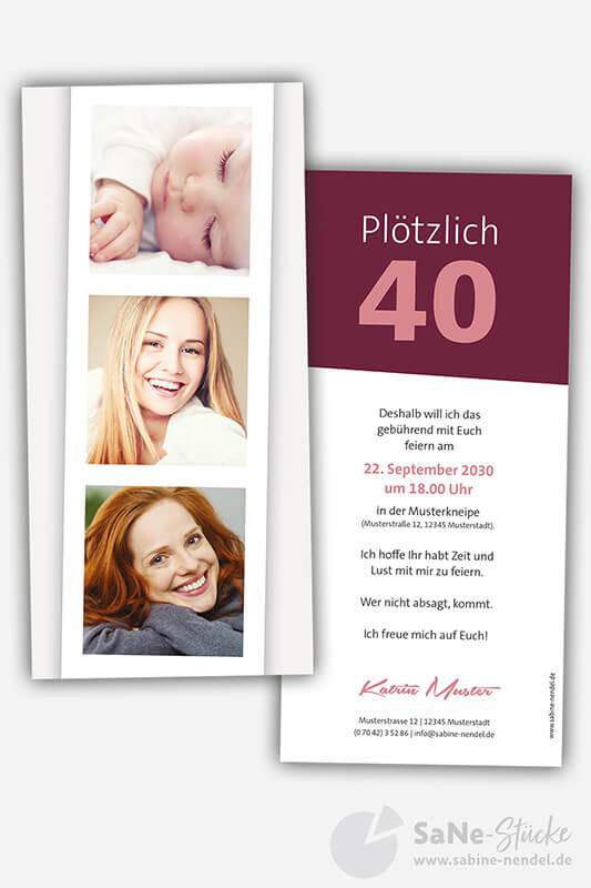 Einladungskarten-40-Geburtstag-Fotostreifen-rot
