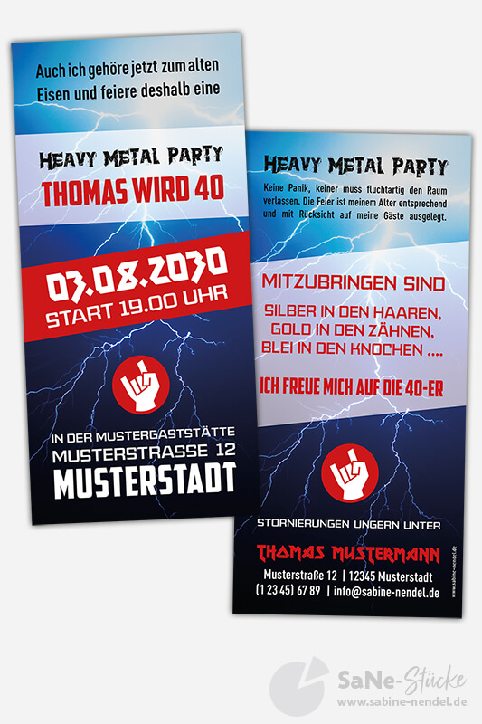 "einladungskarten 40. geburtstag ""heavy metal"""