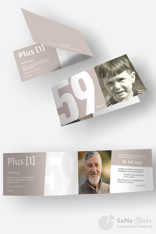 Einladungskarten Geburtstag Plus Braun