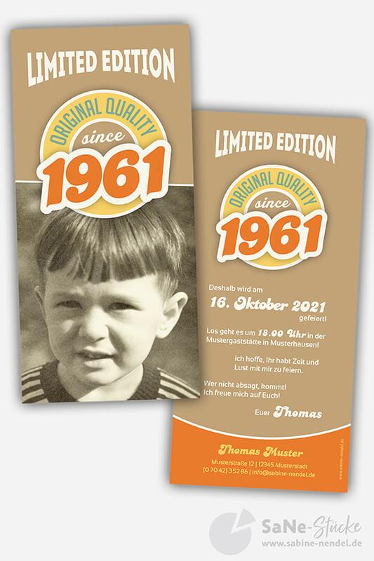 Einladungskarten-60-Geburtstag-Retro-1961-braun-Foto