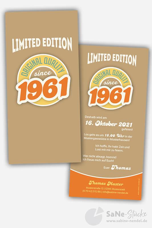 Einladungskarten-60-Geburtstag-Retro-1961-braun